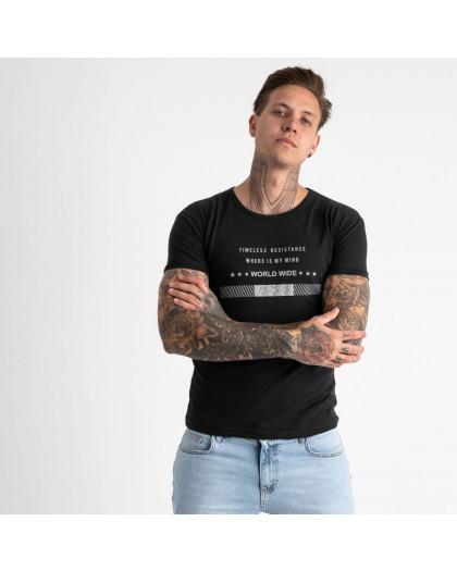 2619-1 черная футболка мужская с принтом (4 ед. размеры: M.L.XL.2XL) Футболка