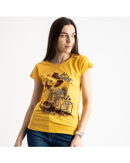 2586-6 желтая футболка женская с принтом (4 ед. размеры: S.M.L.XL) Футболка