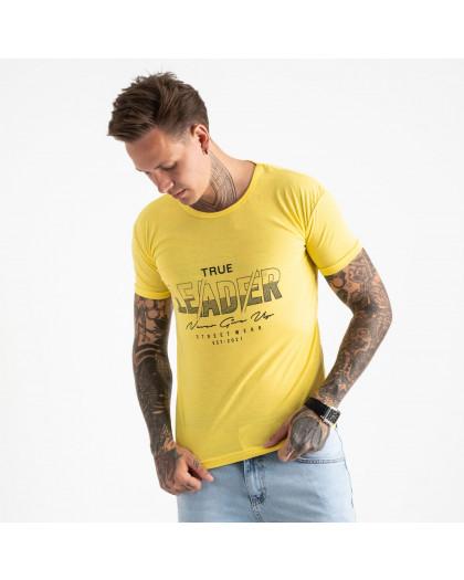 2614-6 желтая футболка мужская с принтом (4 ед. размеры: M.L.XL.2XL) Футболка
