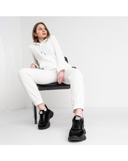 3301-10 белый спортивный костюм женский из двунитки (4 ед. размеры: 46.48.50.52) Спортивный костюм