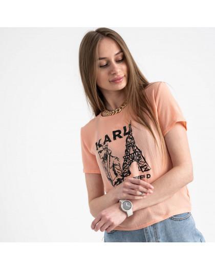 2056-7 футболка персиковая женская с принтом (5 ед. размеры: 42.44.46.48.50) Футболка