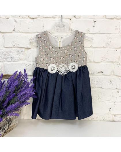 1049 платье хлопковое темно-синее на девочку 6-18 месяцев (3 ед. размеры: 74.80.86) Маленьке сонечко