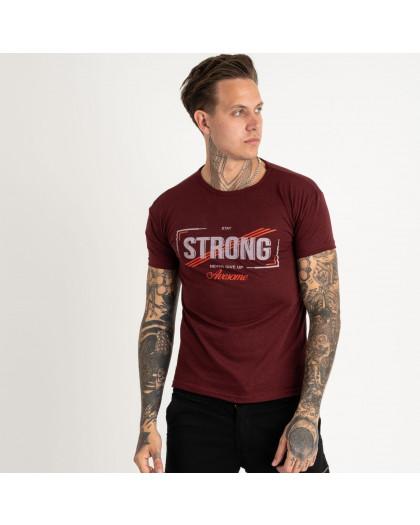 2612-9 бордовая футболка мужская с принтом (4 ед. размеры: M.L.XL.2XL) Футболка