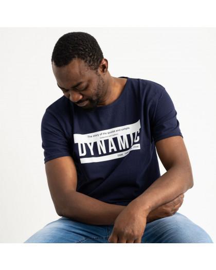 2713 темно-синяя футболка батальная мужская с принтом (4 ед. размеры: XL.2XL.3XL.4XL) Футболка