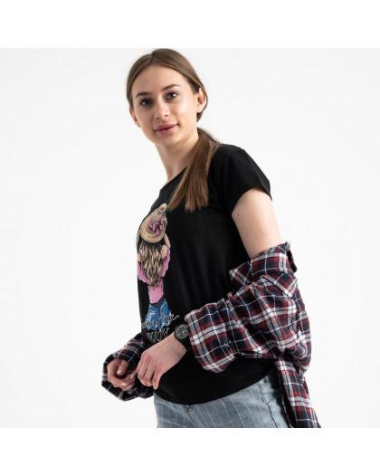 2576-1 черная футболка женская с принтом (3 ед. размеры: S.M.L) Футболка
