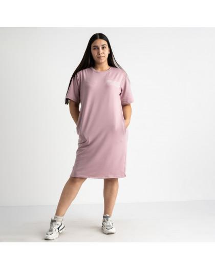 5566-2 Mishely платье розовое полубатальное из двунитки  (4 ед. размеры: 46.48.50.52) Mishely