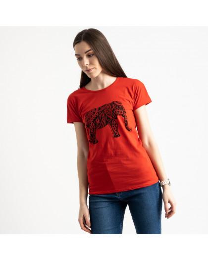2575-3 красная футболка женская с принтом (3 ед. размеры: S.M.L) Футболка
