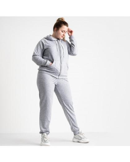 15111-8 серый спортивный костюм батальный женский из двунитки (4 ед. размеры: 50.52.54.56) Спортивный костюм