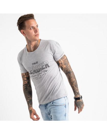 2614-5 серая футболка мужская с принтом (4 ед. размеры: M.L.XL.2XL) Футболка