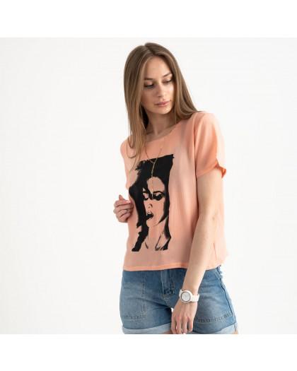 2022-7 футболка персиковая женская с принтом (5 ед. размеры: 42.44.46.48.50) Футболка