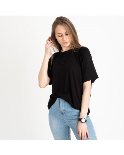 14440-1 Mishely черная футболка женская в стиле oversize  (4 ед. размеры: S.M.L.XL) Mishely