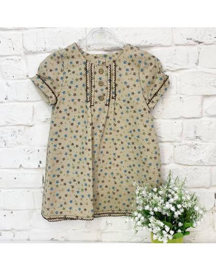 1325-2 платье льняное бежевое на девочку 2-4 года (3 ед.размеры: 92.98.104) Маленьке сонечко