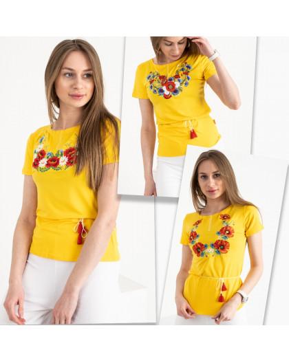 1820 желтая футболка-вышиванка женская микс моделей (5 ед. размеры: S.M.L.XL.2XL) Футболка