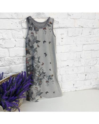 0659 платье серое с рисунком на девочку 4-6 лет (2 ед. размеры:104.116) Маленьке сонечко
