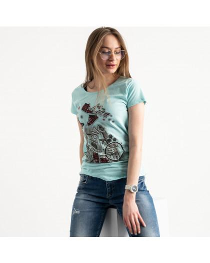 2586-4 зеленая футболка женская с принтом (4 ед. размеры: S.M.L.XL) Футболка