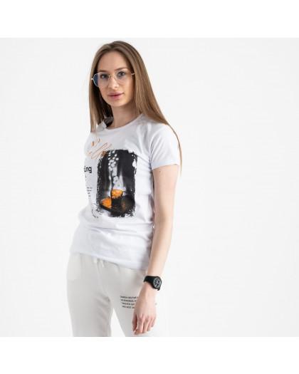2504-10 Akkaya белая футболка женская с принтом стрейчевая (4 ед. размеры: S.M.L.XL) Akkaya