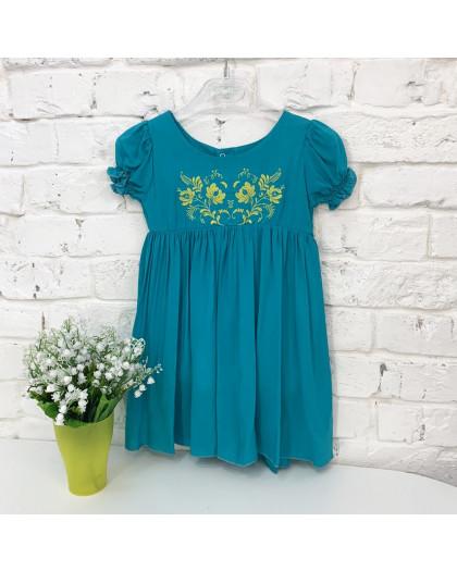 0264-1 платье бирюзовое на девочку 1-3 года (3 ед. размеры: 80.92.104) Маленьке сонечко