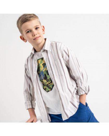 1900 Boston Public бежевая рубашка в полоску на мальчика 7-15 лет (5 ед. размеры: 30/31.32/33.33/34.34/35.35/36) Boston Public