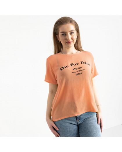 2024-7 футболка женская персиковая батальная с принтом (5 ед. размеры: 52.54.56.58.60) Футболка