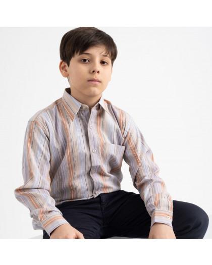 1906 Boston Public бежевая рубашка в полоску на мальчика 7-15 лет (5 ед. размеры: 30/31.32/33.33/34.34/35.35/36) Boston Public