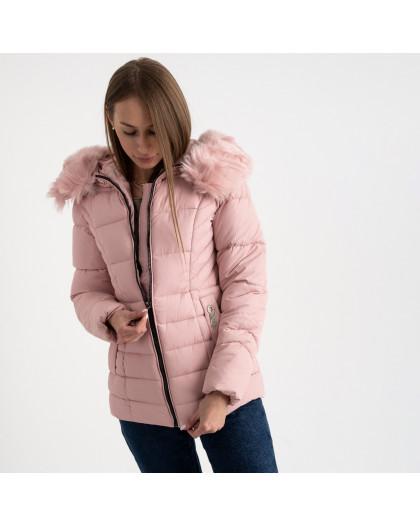 0906-2 розовая куртка женская на синтепоне (4 ед. размеры: L.XL.2XL.3XL) Куртка