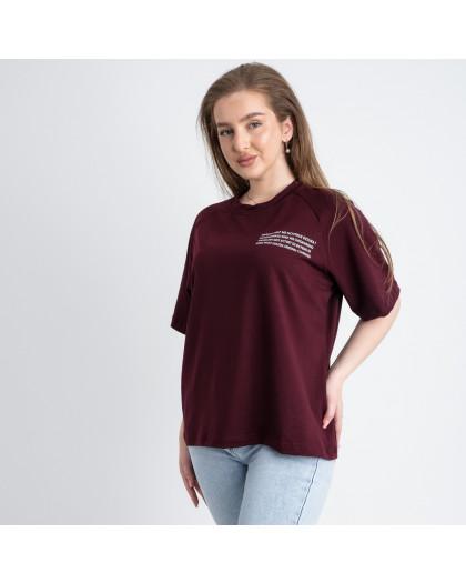 2220-4 Mishely футболка бордо женская батальная из двунитки ( 4 ед. размеры: 50.52.54.56) Mishely