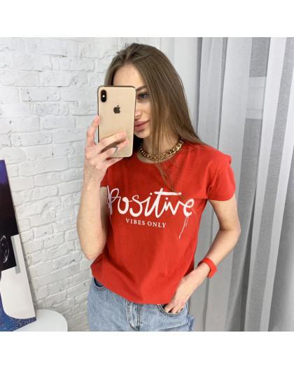 2400-3 красная футболка женская с принтом (3 ед. размеры: S.M.L) Футболка