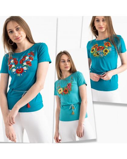 1821 бирюзовая футболка-вышиванка женская микс моделей (5 ед. размеры: S.M.L.XL.2XL) Футболка