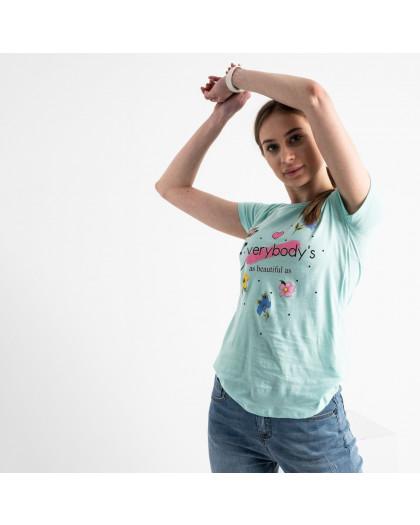 2579-4 бирюзовая футболка женская с принтом (3 ед. размеры: S.M.L) Футболка