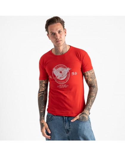 2606-3 красная футболка мужская с принтом (4 ед. размеры: M.L.XL.2XL) Футболка