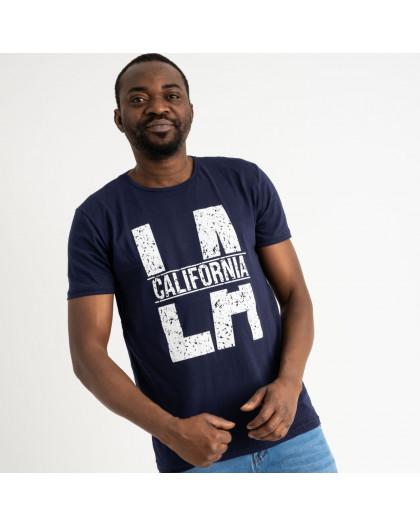 2712 темно-синяя футболка батальная мужская с принтом (4 ед. размеры: 2XL.3XL.4XL.5XL) Футболка