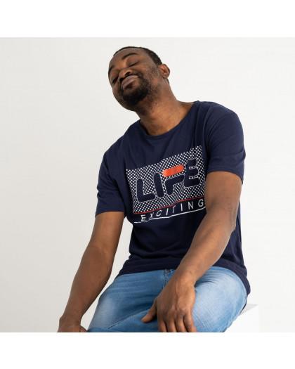 2715 темно-синяя футболка батальная мужская с принтом (4 ед. размеры: XL.2XL.3XL.4XL) Футболка