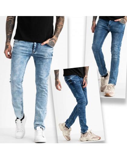 6743 Destry джинсы мужские синие стрейчевые с царапками микс из 3-ех моделей (8 ед. размеры: 29.29.29.32.32.32.32.32) Destry