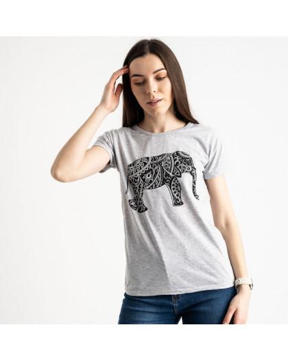 2575-5 серая футболка женская с принтом (3 ед. размеры: S.M.L) Футболка