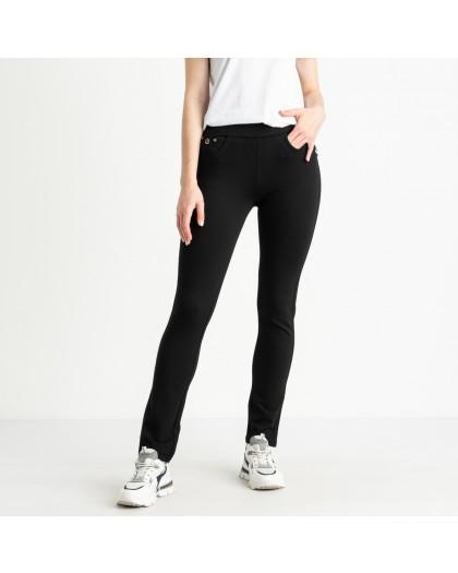 0733 Lady N брюки полубатальные черные стрейчевые пояс на резинке (6 ед. размеры: 28.29.30.31.32.33) Lady N