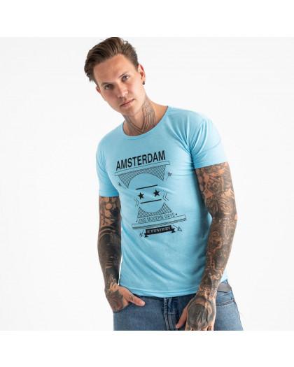 2604-13 светло-голубая футболка мужская с принтом (4 ед. размеры: M.L.XL.2XL) Футболка