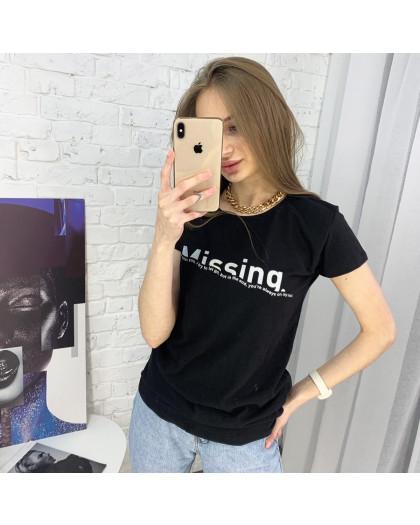 2401-1 черная футболка женская с принтом (4 ед. размеры: S.M.L.XL) Футболка
