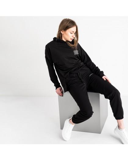 15115-1 черный спортивный костюм женский из двунитки (4 ед. размеры: S.M.L.XL) Спортивный костюм