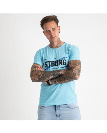 2612-13 светло-голубая футболка мужская с принтом (4 ед. размеры: M.L.XL.2XL) Футболка