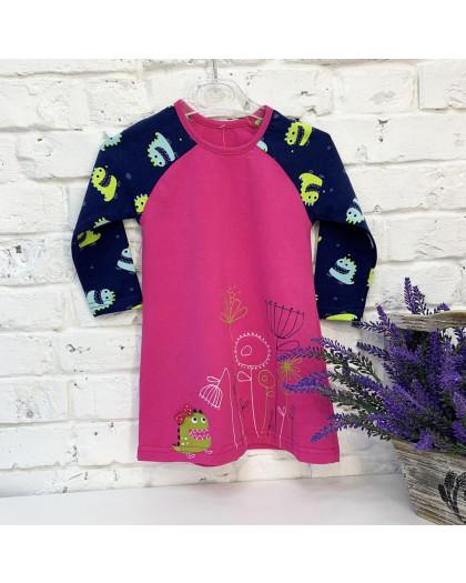 0708 платье розовое на девочку 1-3 года (3 ед. размеры: 86.92.98) Маленьке сонечко