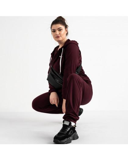 15111-6 бордовый женский спортивный костюм батальный из двунитки (4 ед. размеры: 50.52.54.56) Спортивный костюм