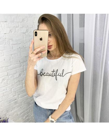 2595-10 белая футболка женская с принтом (3 ед. размеры: S.M.L) Футболка
