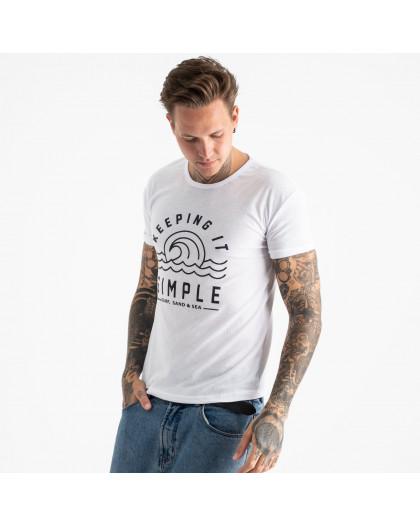 2605-10 белая футболка мужская с принтом (4 ед. размеры: M.L.XL.2XL) Футболка