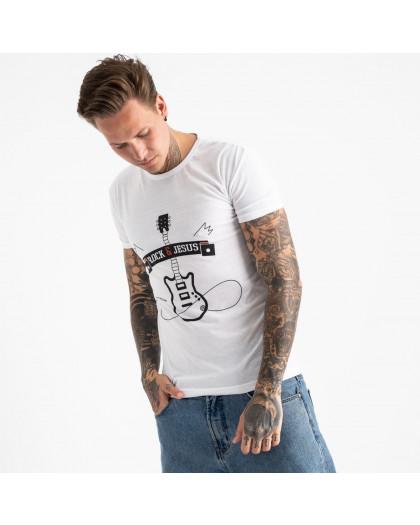 2608-10 белая футболка мужская с принтом (4 ед. размеры: M.L.XL.2XL) Футболка