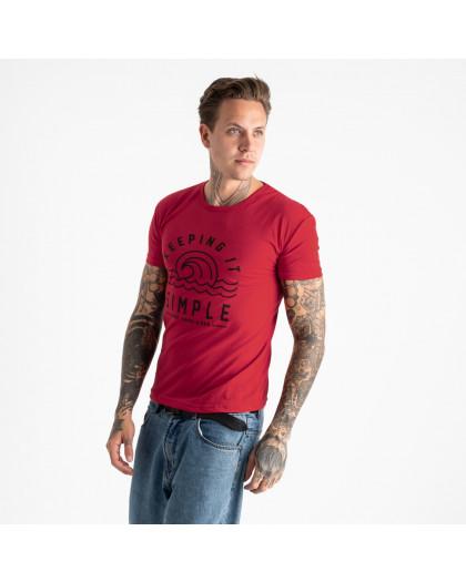 2605-3 красная футболка мужская с принтом (4 ед. размеры: M.L.XL.2XL) Футболка