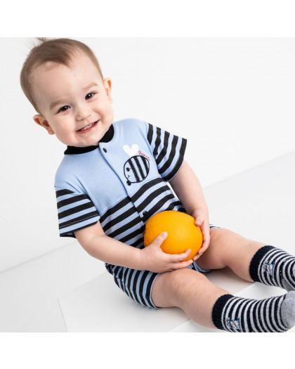 17063 Emotion Kids синий комплект (комбинезон+шапочка) на мальчика 1-9 мес.(6 ед. размеры: 62.62.68.68.74.74) Emotion kids