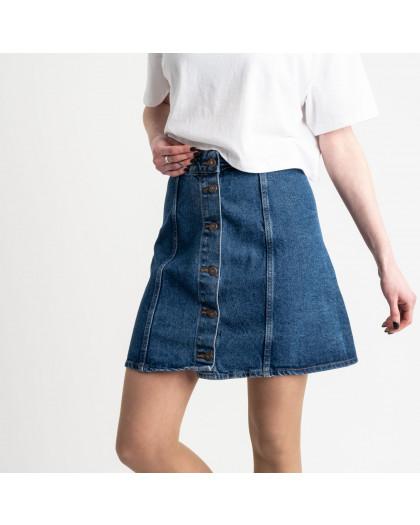 3082 юбка джинсовая на пуговицах синяя котоновая (4 ед. размеры: 24.26.28.30) Юбка