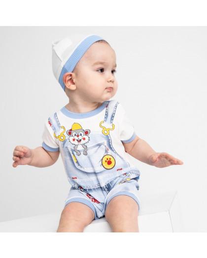 17064 Emotion Kids голубой комплект (комбинезон+шапочка) на мальчика 1-9 мес (6 ед. размеры: 62.62.68.68.74.74) Emotion kids