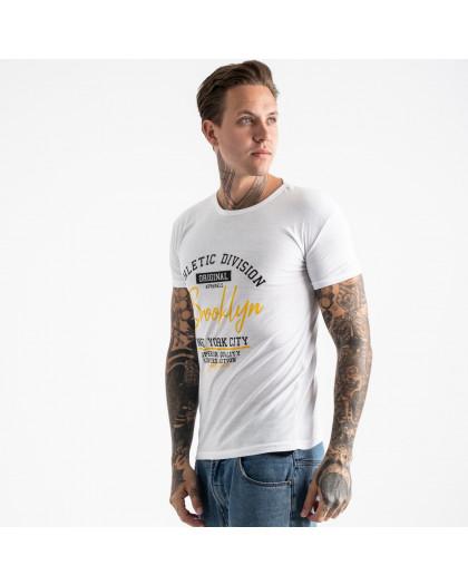 2602-10 белая футболка мужская с принтом (4 ед. размеры: M.L.XL.2XL) Футболка