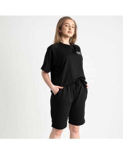 2215-1 Mishely черный женский спортивный костюм батальный из двунитки  (4 ед. размеры: 50.52.54.56) Mishely